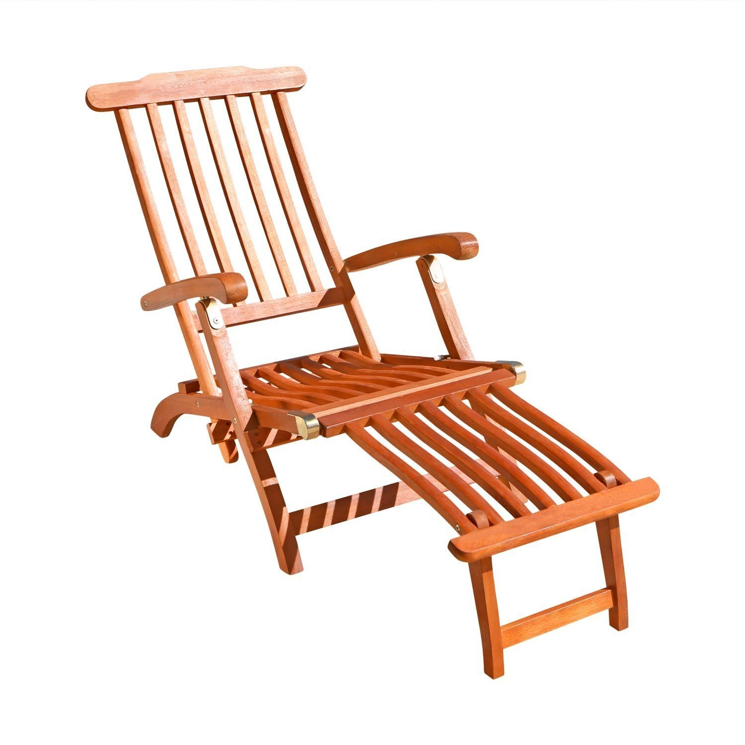 Lounge Chair Folding Recliner Outdoor Wood Pool Patio Beach Yard Lounger Spring