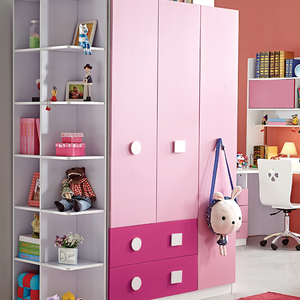 wholesale wooden three door wardrobe four drawers pink double color wardrobe design furniture bedroom
