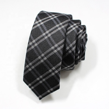 wholesale black and white plaid silk tie classical mens tie