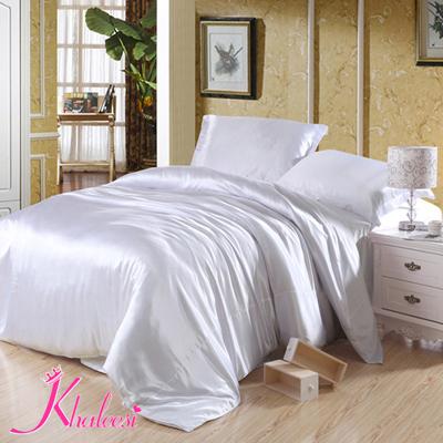 neige blanc luxe 4 pcs ensemble de literie linge de soie literie drap de lit housse de couette. Black Bedroom Furniture Sets. Home Design Ideas