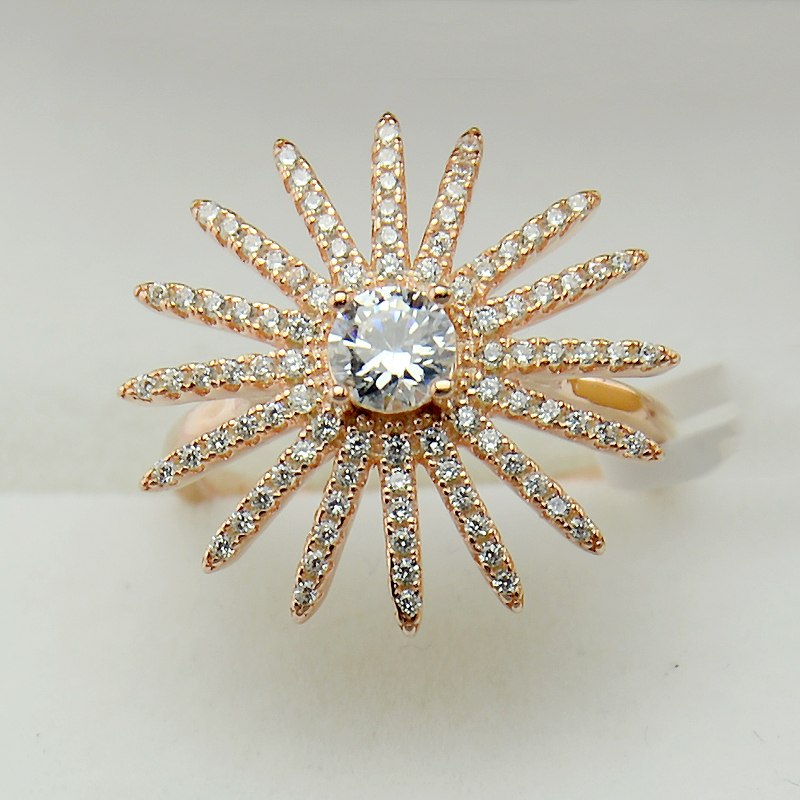 New Design Big Rings Sun Flower Gold Plated 925 Sterling Silver Ring