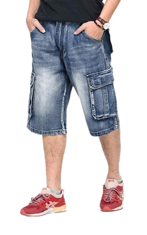 ONTBYB Men Casual Plain Shorts Baggy Capri Pants Loose Fit Pants