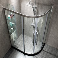 stainless steel simple modern doublr glass door glass shower cabin