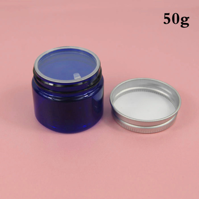 wholesale empty plastic 50g blue cream jar, PET 50cc cream bottle, 50g blue cosmetic container packaging