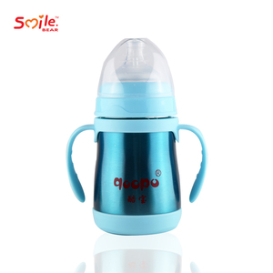 Food grade 180ml stainless steel baby feeding bottle with handle