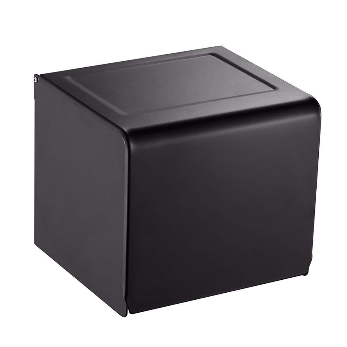 FYERBU-Non Perforated Black Toilet Paper Box Roll Paper Holder Tissue Box Towel Rack Toilet Paper Box Bathroom Rack.