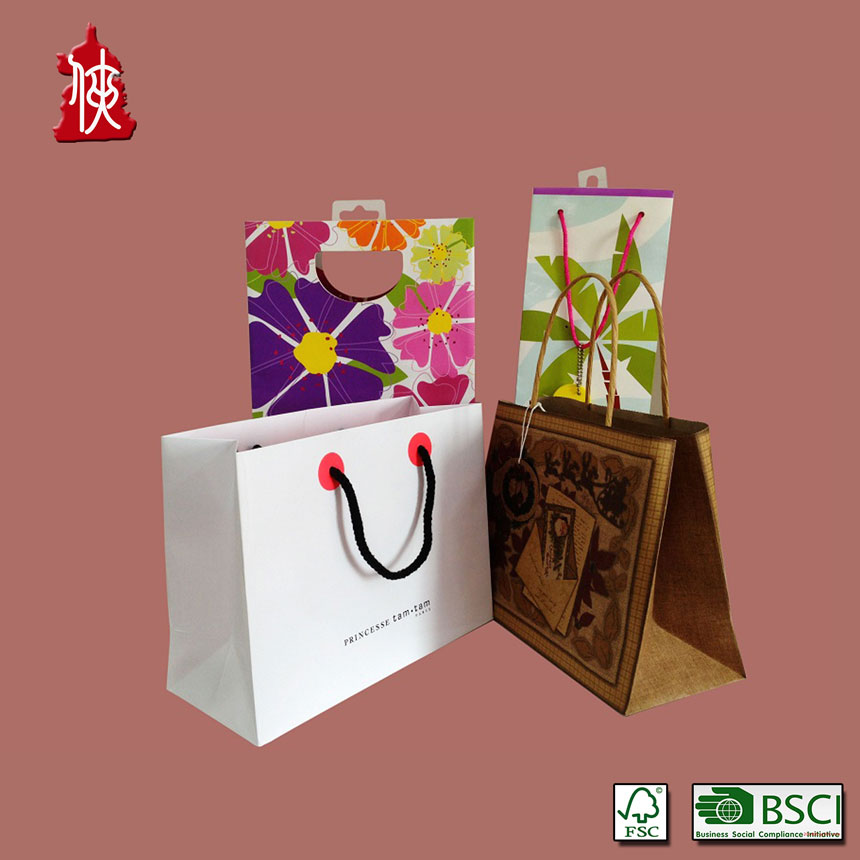 Custom printed products paper bags for candle/clothes/gift bag/shoe bag with low price