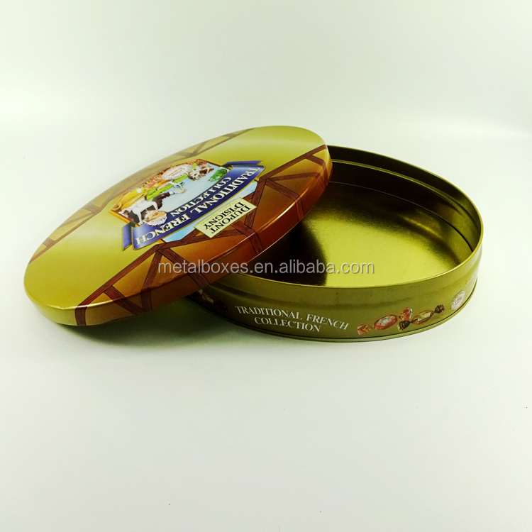Food Grade Oval Shape Chocolate Biscuit Tin Can Butter Cookie Tin Box
