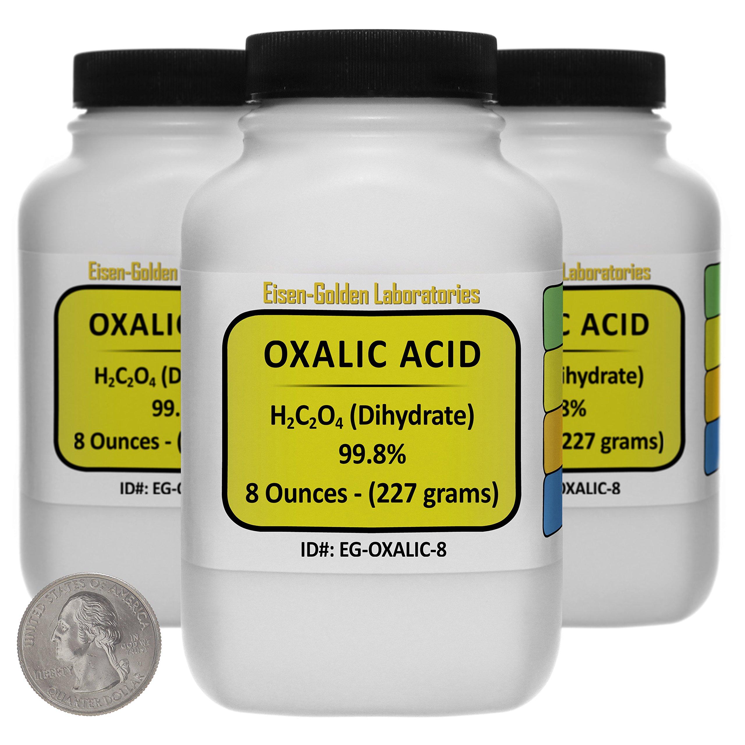 Oxalic Acid [C2H2O4] 99.8% ACS Grade Powder 1.5 Lb in Three Space-Saver Bottles USA