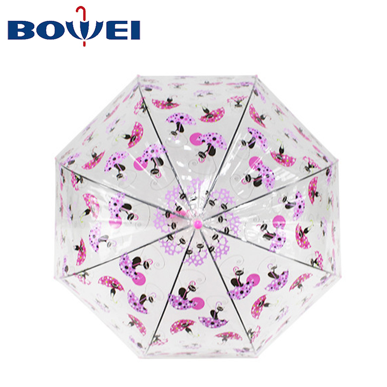 Russian market hot Promotional Fashion cartoon clear  lipstick dome cat tower  POE Transparent  Umbrella