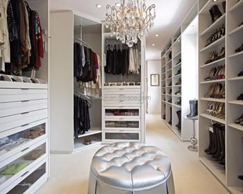 Custom Big Walk In Closet Cabinets With Foot Stool