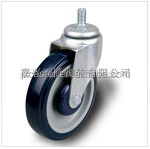 PU 5inch swivel threaded stem caster shopping trolley caster 240kg Static Loading capacity