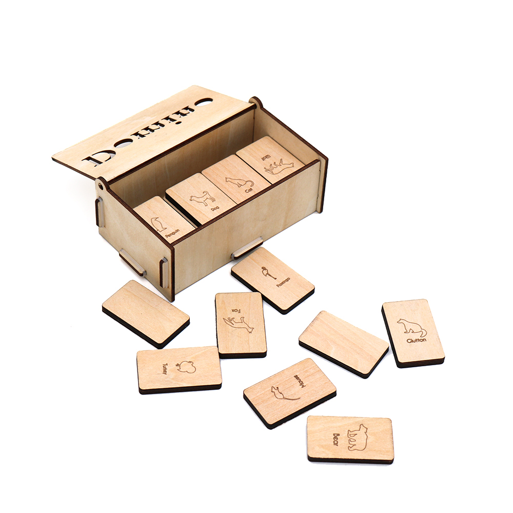 Personalized Wooden Domino Game with AnimalTheme