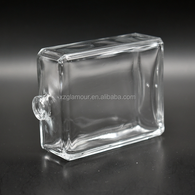100ml clear square flat custom perfume bottle