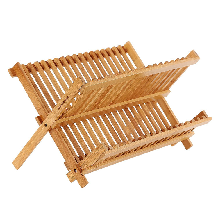 Bamboo 2 Layer Collapsible Dish Drainer Rack MSL Details