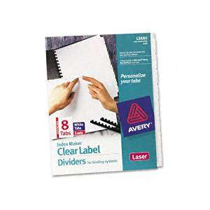 Avery - Index Maker Clear Label Unpunched Divider, Eight-Tab, Letter, White, Five Sets - Pack of 3