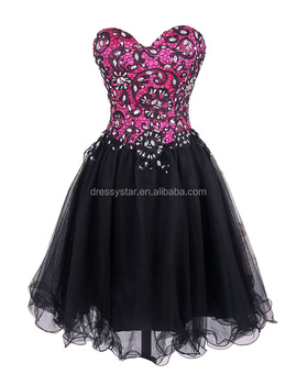 Cheap short tube top black lace appliqued tulle puffy homecoming dress