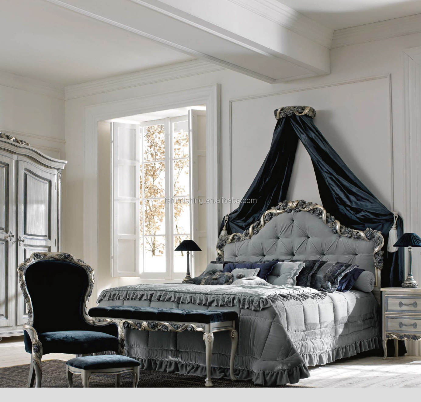 Rococo Luxury Antique Victorian Distressed French Bedroom Elegant Blue  Reproduction Bed Royal Luxury Furniture - Buy Classic Distressed Bedroom ...