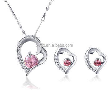 free shipping fashion jewelry set heart shape pendant zircon necklace and earring set