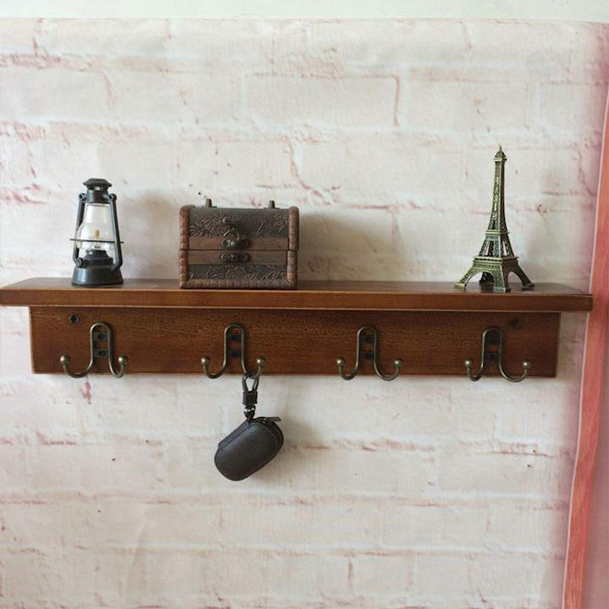 Warm Van Vintage Metal Wall Mounted Coat Hooks,Floating Closet Storage Rack,Retro Home Entryway Hanging Shelves,New Zealand Pine Wood Partition Shelf,Double Hook Hangers
