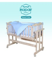 European style baby wooden furniture for baby solid pine cot bed with mosquito net