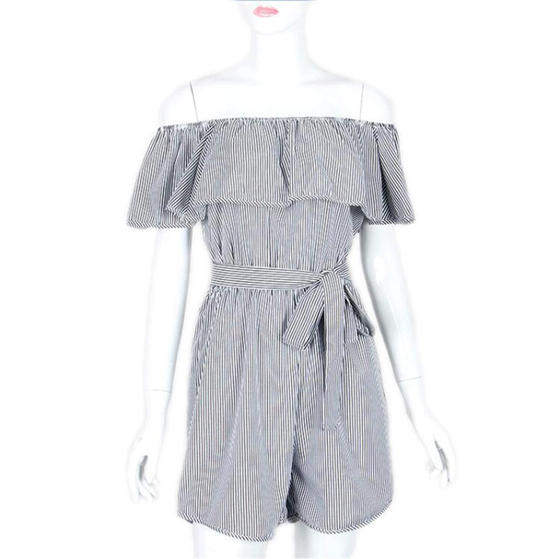 4baa12f5bf Get Quotations · FeiSuit Ruffles Slash Neck Beach Playsuits Summer Women  Striped Jumpsuits Girls