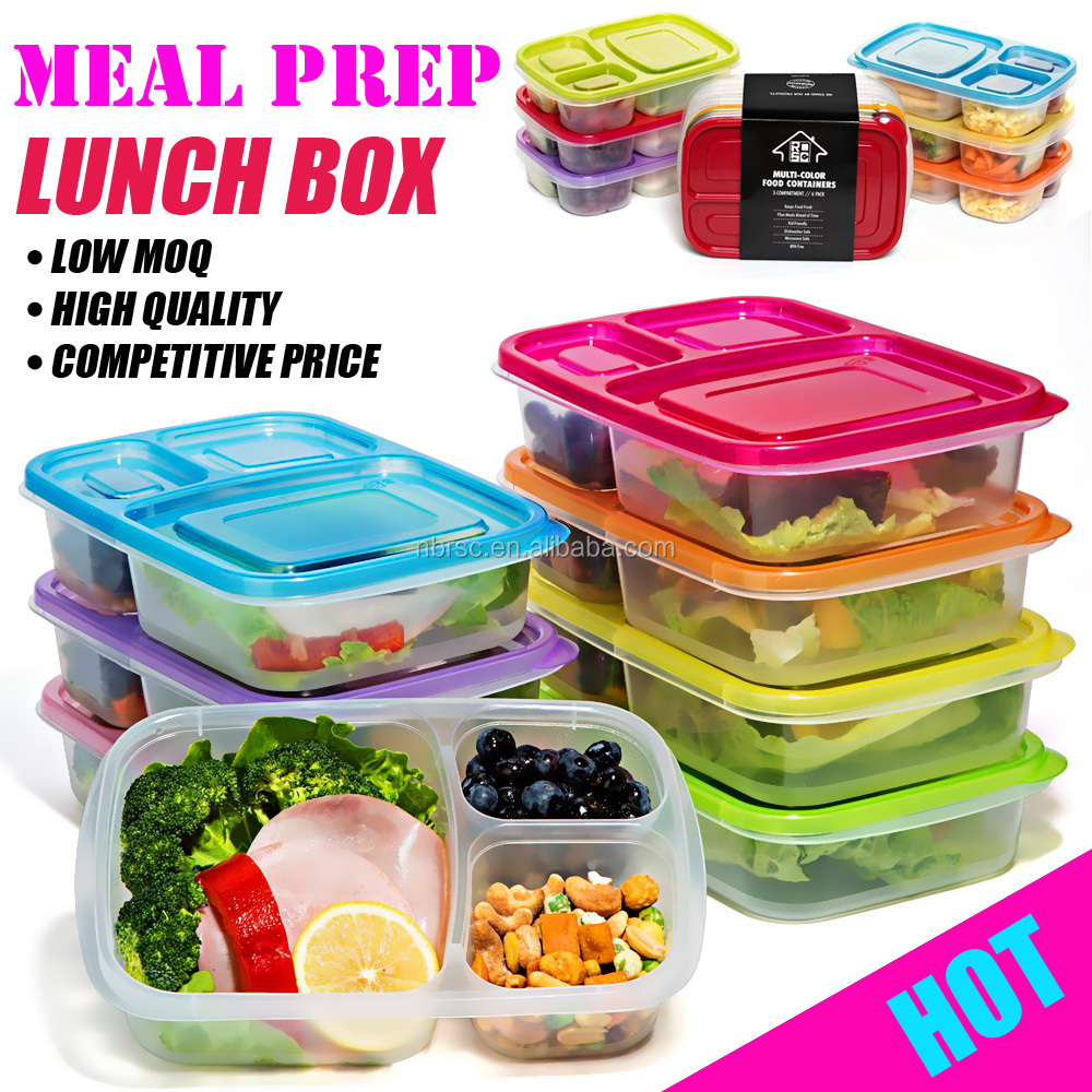 NBRSC stackable plastic Meal prep 3 compartment food container with section lunch box