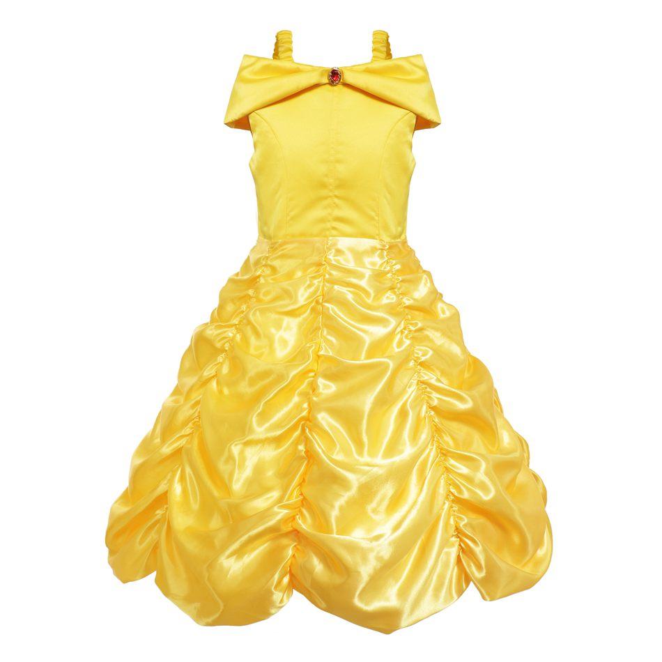 25ee4e8c13 Hombro princesa Belle vestido de belleza y la Bestia traje niño Cosplay  carnaval de verano