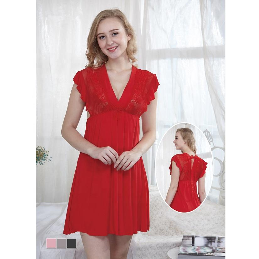 5799f79dca9 Oem Odm Women Clothing Red Bride Eyelash Lace Robe And Night Dress ...