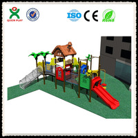 Safe and fine daycare outdoor play equipment, plastic jungle gym, Guangzhou plastic playground slide QX-New07