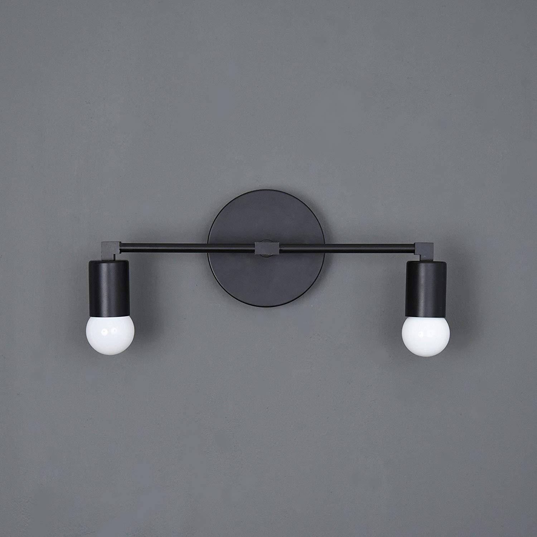 Handmade in U.S.A. Matte Black Mid Century Modern Downward 2 Light Wall Sconce
