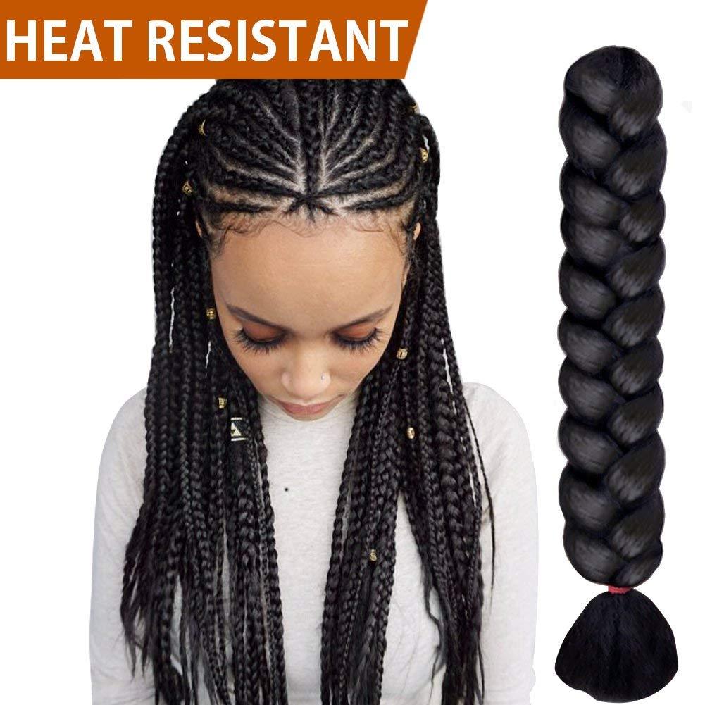 "FASHION IDOL 1-Piece PREMIUM Heat Resistant 30"" Soft Jumbo Braiding Hair (Black, 3.5 Oz) - Kinkys Straight Hair Extensions - Heat Resistant Braiding Hair - Synthetic Hair for Braiding"