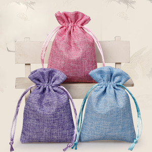 Custom printed drawstring burlap gift bags pouch wholesale jute bag