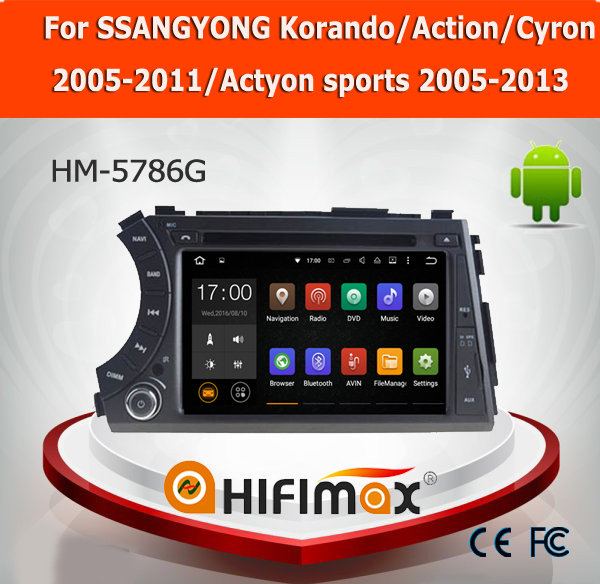 "Hifimax 7"" android 5.1 car dvd player for SSANGYONG Korando/Action/Cyron/Actyon sports with sd card car gps navigation system"