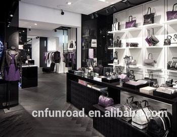 Modern Retail Handbag Wooden Corner Cabinets And Display Furniture For Clothing Design