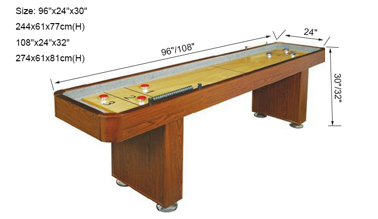 SZX 8ft 9ft 12ft Classic solid wood shuffleboard game table for sale china