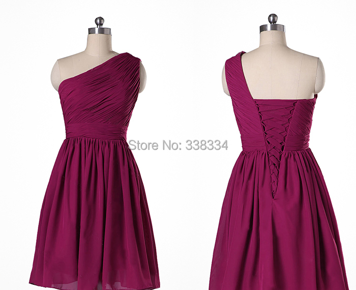 52e20b6c73cd Buy Scalloped One Shoulder Burgundy Short Chiffon Simple Bridesmaid Dresses  Blue Pink Brown Navy Purple Lavender Formal Dresses in Cheap Price on  m.alibaba. ...