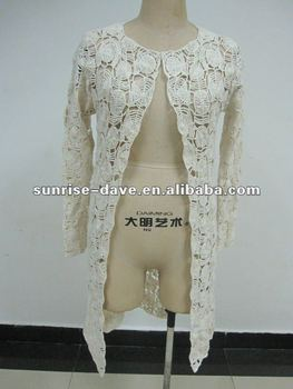 Embroidery Long Crochet Cardigan Sweater Coat For Ladies Buy Korea