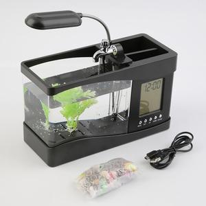 2019 New Arrivals Usb Desktop Mini Fish Tank Aquarium Glass Lcd Relogio Led Lamp Light Black/White Led Aquarium Fish Tank