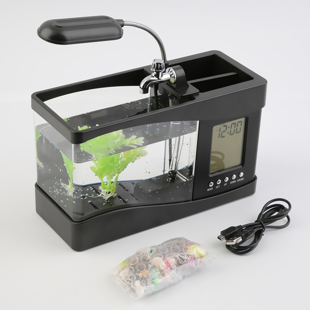 2019 nieuwkomers USB Desktop Mini Aquarium Aquarium Glas LCD Relogio LED Lamp Licht Zwart/Wit led aquarium fish tank