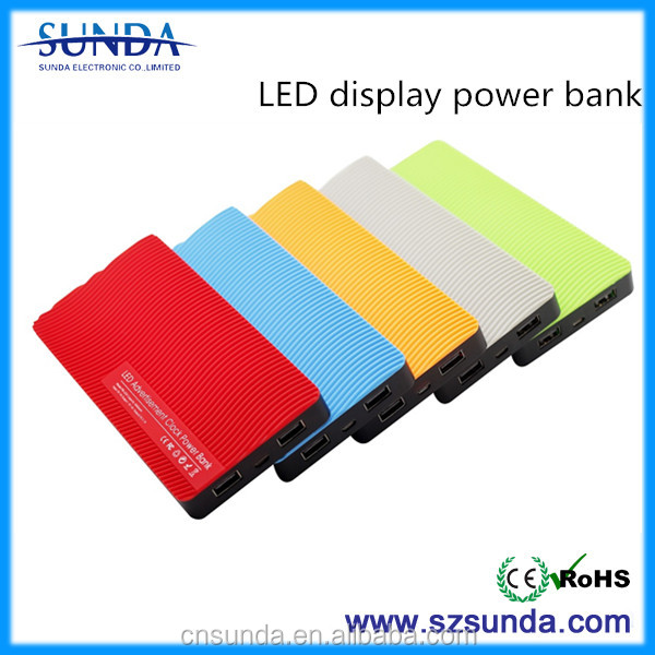 2015 new style 2 USB slim 8000mah solar power bank charger with different colors