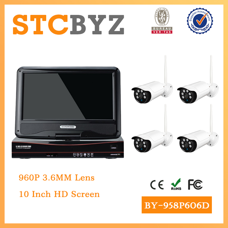 10 inch screen 8ch wifi 960P waterproof cctv wireless camera kit