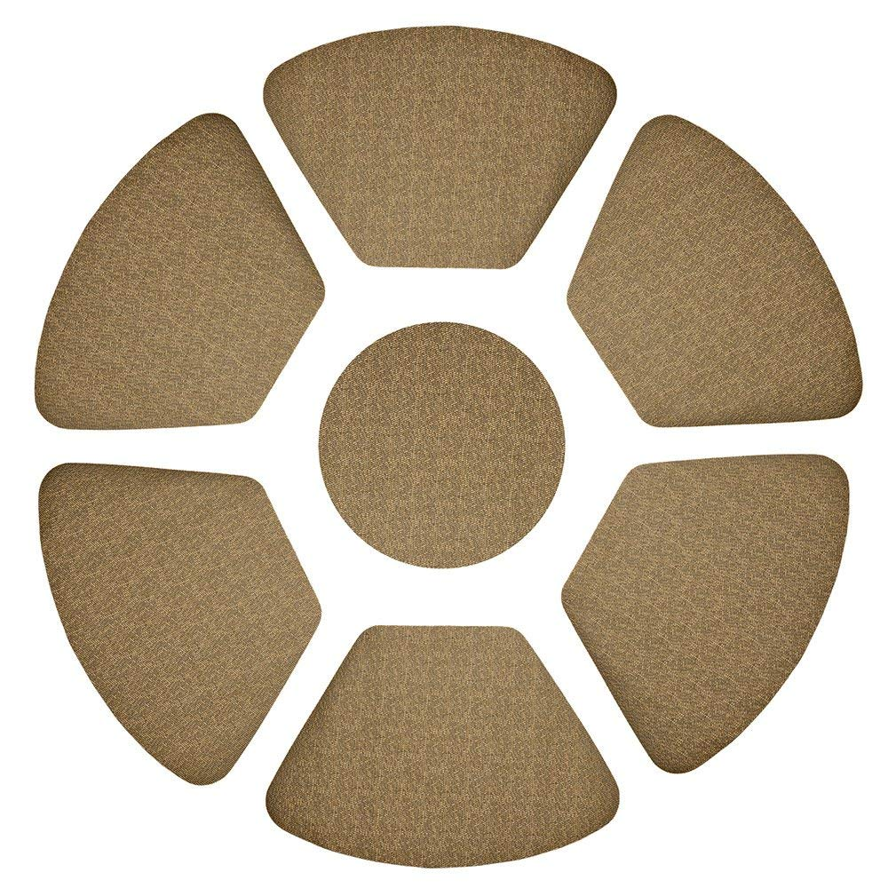 Wispun Double-Layered Thick Placemats -Round Table Placemats Sector Waterproof Heat-Resistant PVC Table Mats Plate Mats for Home Decor Table Decor Set of 7 (Black-Gold)