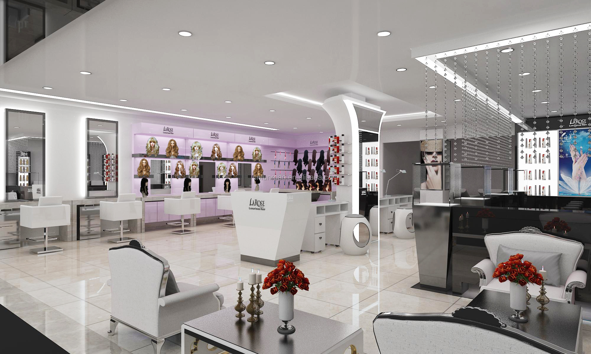 Fashion hair salon interior layout 3D design barber shop furniture