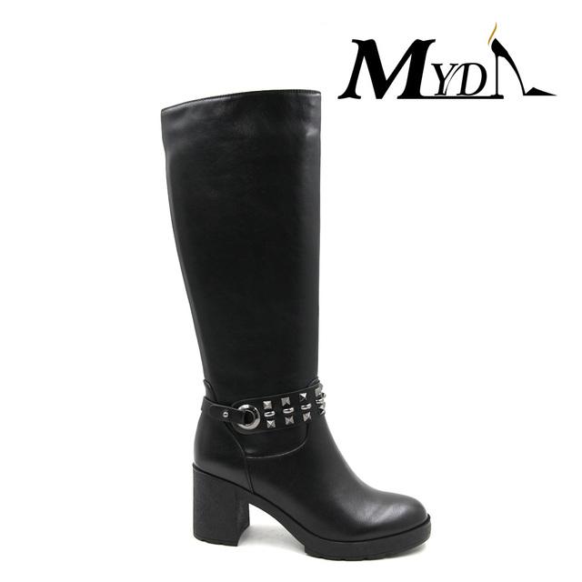 bf2e7de4ac6 black leather women mid calf mature sexy high heel boots