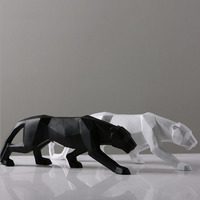 Nordic Creative Living Room Simple Animal Crafts Black and White Leopard Resin Statue Decoration