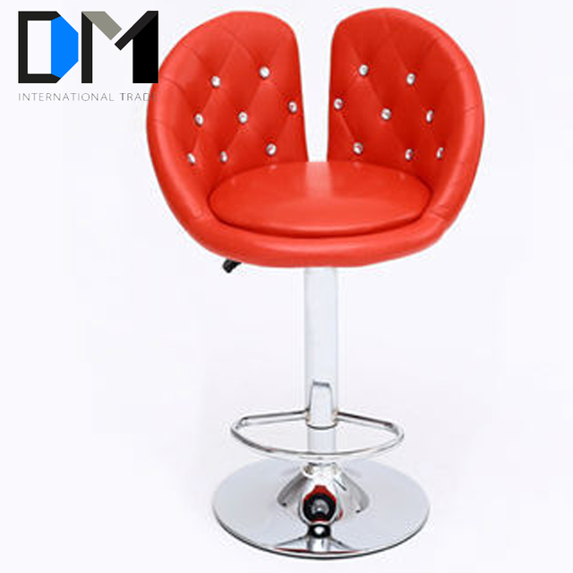 Unique Design diamond-edged Red PU Bar Stools