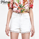 wholesale women high waist white lace trim denim shorts