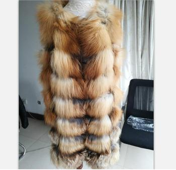 Wholesale Women Real Silver Red Fox Fur Vest /Real Fox Fur Gilet