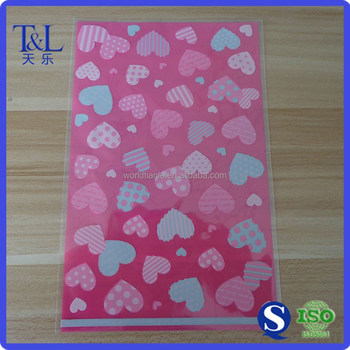 Cute Pink Plastic Patterned Cello Bag For Candy Or Gift